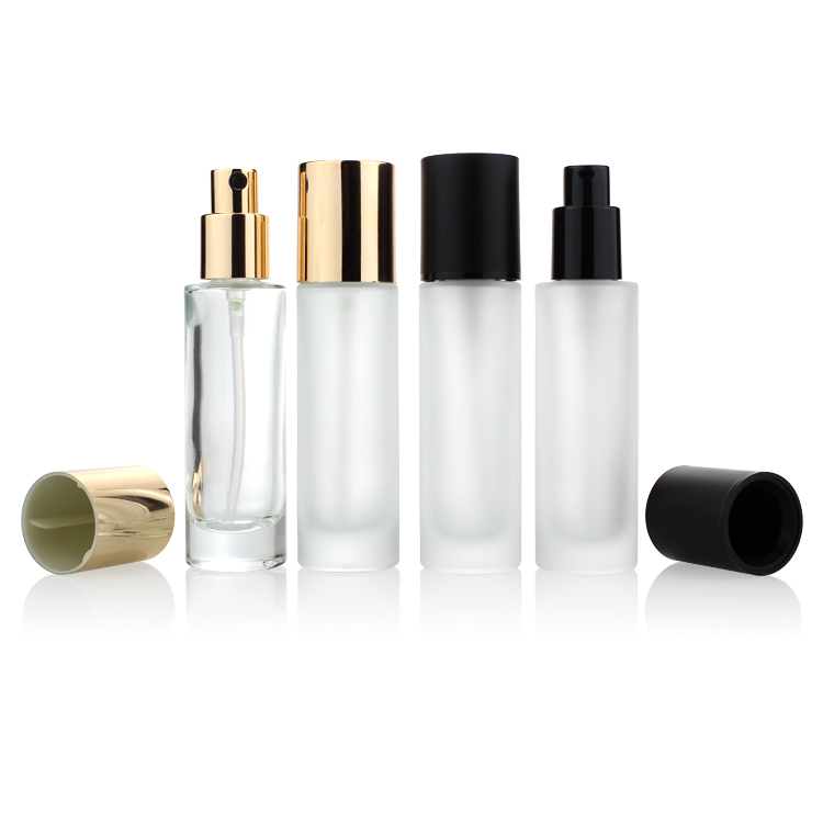 Luxury Cosmetics Packaging Straight Round 30ml Glass Foundation Bottle with Beauty Pump