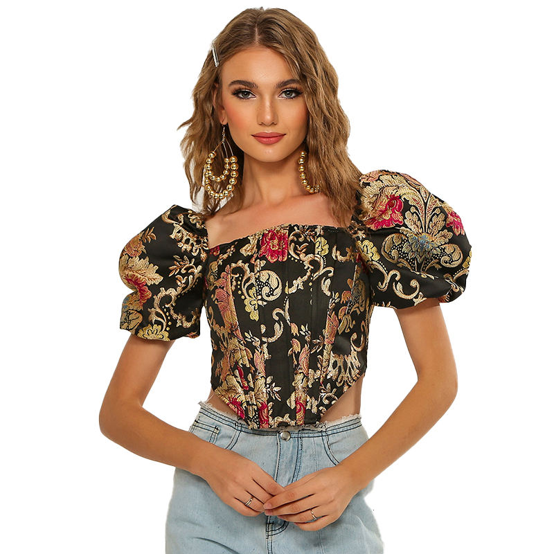 fashion women vintage sexy princess puff sleeve short sleeve strapless sexy top blouse