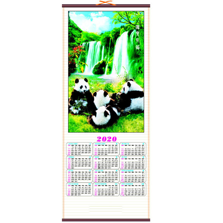 Mince calendrier mural canne wallscroll calendrier 2020