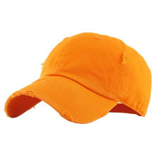 Washed Distressed Embellished Orange Cotton Golf Plain Dad Hat Women Cap Baseball