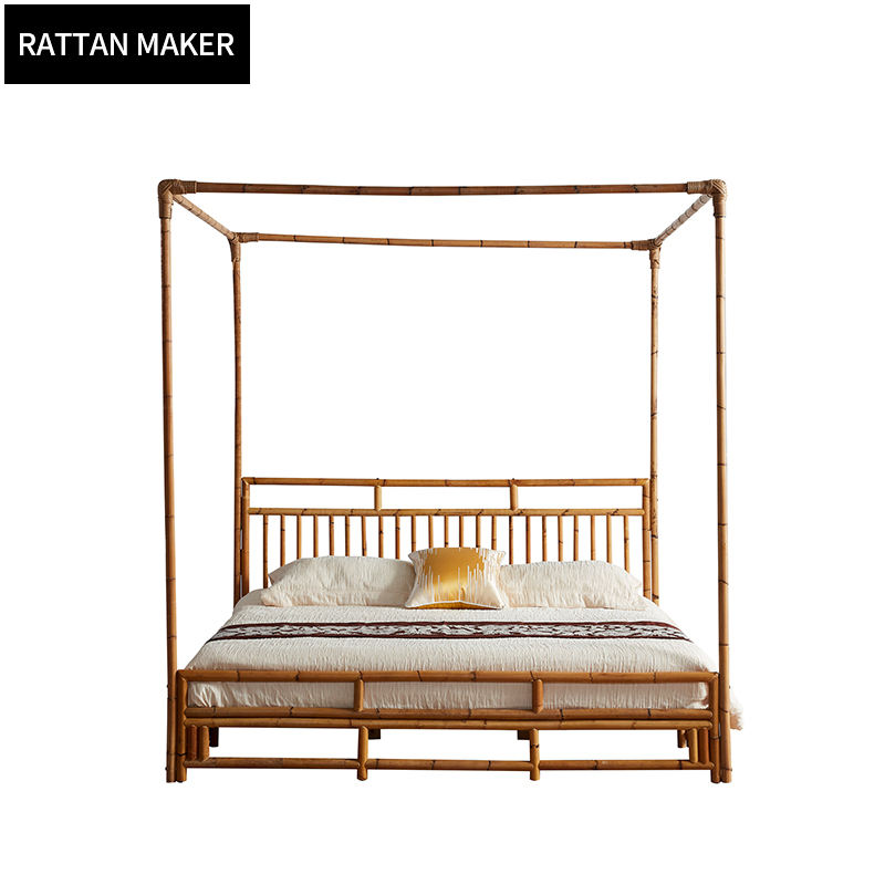 High quality bedroom Sets Indonesia rattan bed double bed bedroom furniture