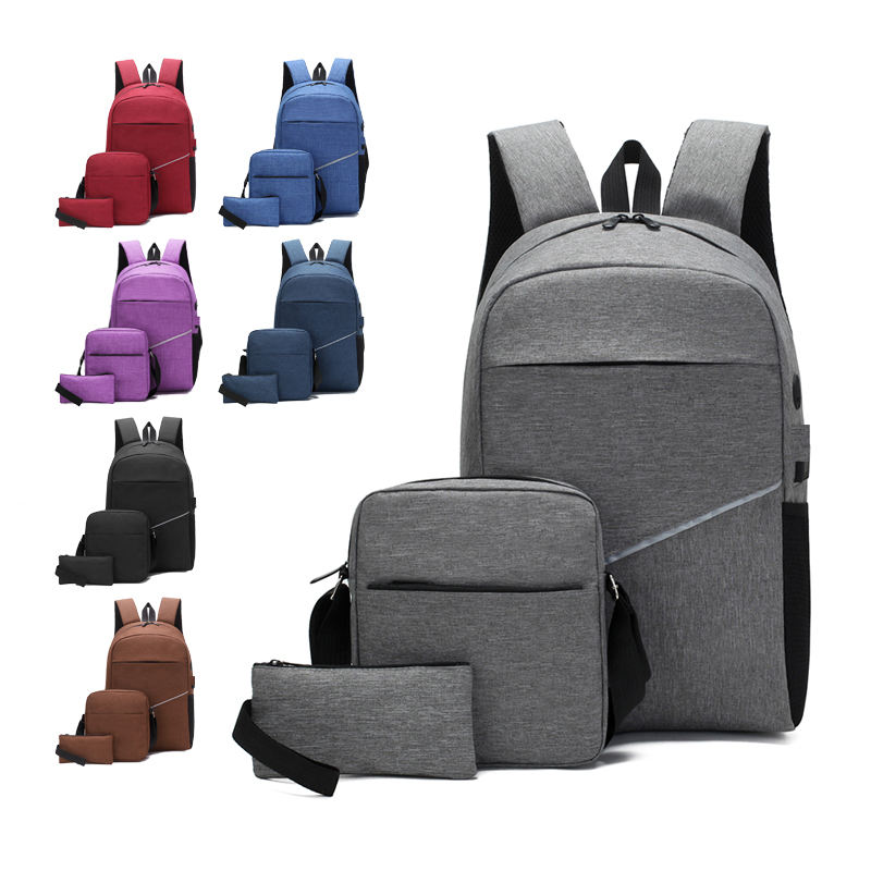 2020 Newest 3 in 1 Smart USB Water Resistant Unisex College School laptop backpack set