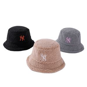 New Korean winter alphabet embroidered lamb wool fisherman ny bucket hat trendy neutral versatile solid color basin hat