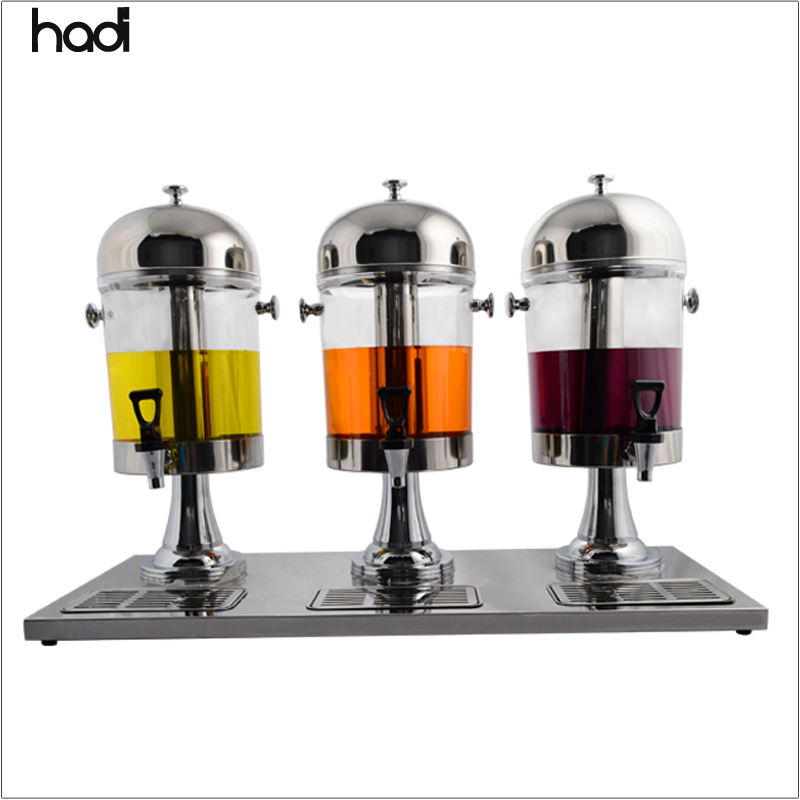 Wholesale guangzhou commercial acrylic fruit juice dispenser silver 3in1 juice dispenser for sale