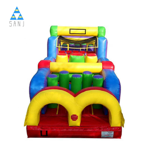 Christmas Cheap Giant Outdoor Asult Kids Commercial Adult Race Bounce Course Inflatable Obstacle For Sale