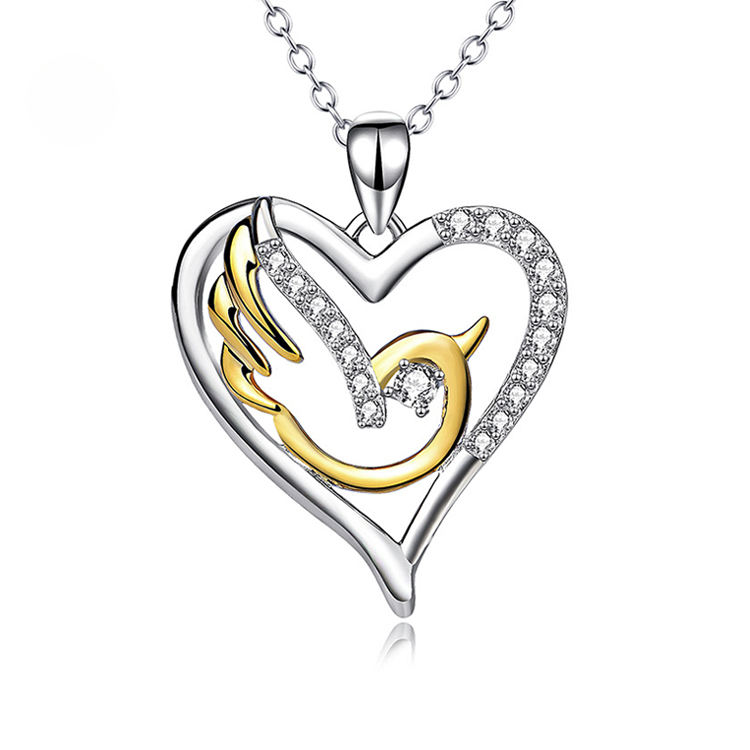 Logo Customization [ Gold Plated Necklace ] Necklacesheart Silver Necklace Pendant Heart-shaped Hollow Out Pendant Pigeon 18k Gold Plated Necklace Fashion 925 Silver Jewelry