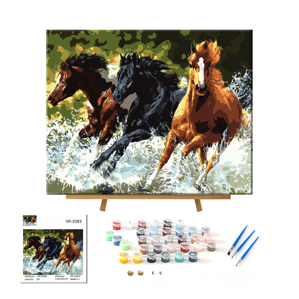 Paintido 24 Colors Yes Frame Printing Canvas Pictures by Numbers Wholesale