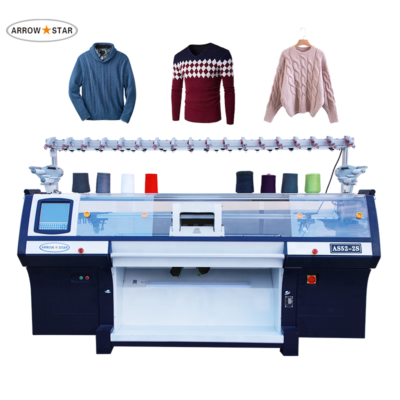 Double system computerized sweater flat knitting machine