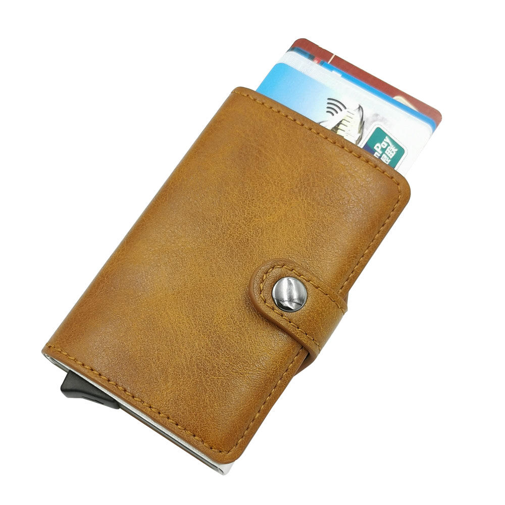 Wholesale Pop Up PU Leather Metal Wallet RFID Blocking Automatic Aluminium Credit Card Holder Wallet