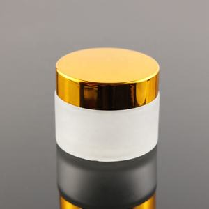 Luxury 50 ml Frosted Cosmetic Packaging Round Pomade Container Cream Glass Jar With UV Gold Lid (GJM20)
