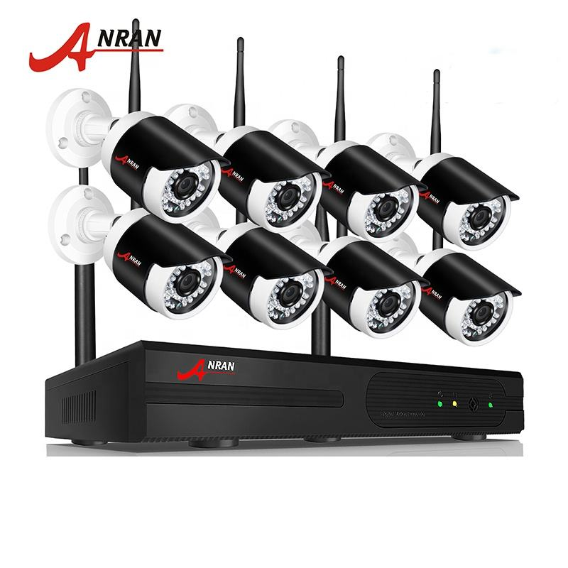 High quality low power 2.0mp wifi p2p wireless ip camera kit 8 CH NVR home use cctv security camera system with 2T HDD