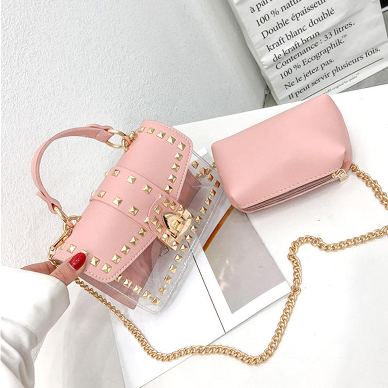 Pvc Transparent Bag Shoulder Bag Fashion Messenger Bag Chain Female Rivets Transparent Square Pvc Handbag Clear Jelly Bag Shoulder Bag