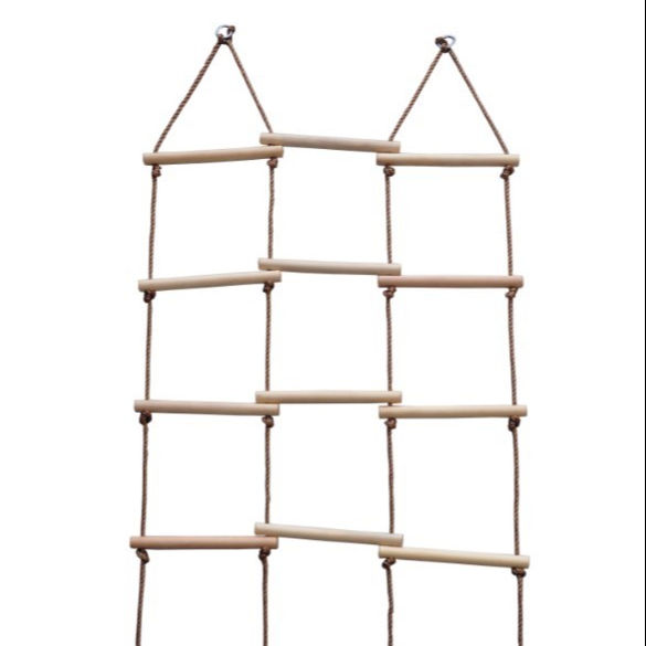 Outdoor wood net swing climbing rope ladder for kids