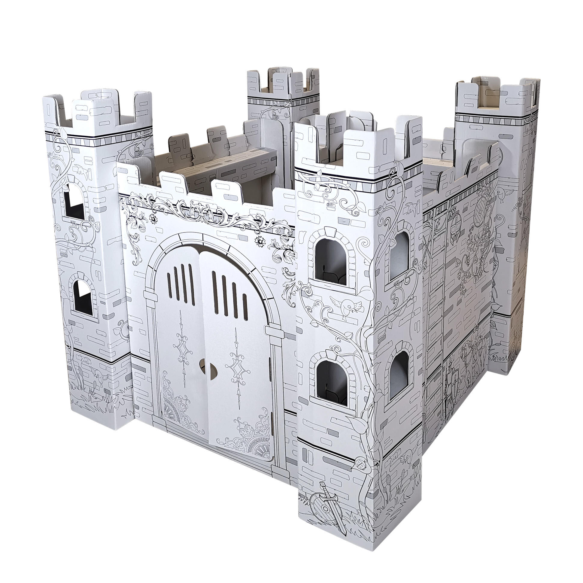 Оптовая продажа 3d DIY каракули головоломки Замок тема Дети партия дом форма модель куб картон картина игровой домик