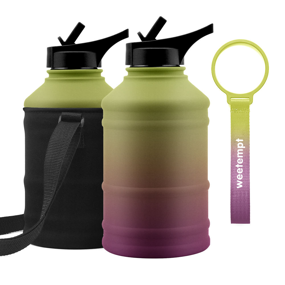 Amazon hot selling 2.2L gym sport stainless steel single wall water bottle with straw lid