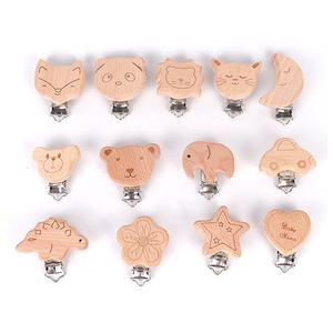 Laser Engraved schnuller clips holz wood Pacifier Clips Baby teething clip for pacifier holder