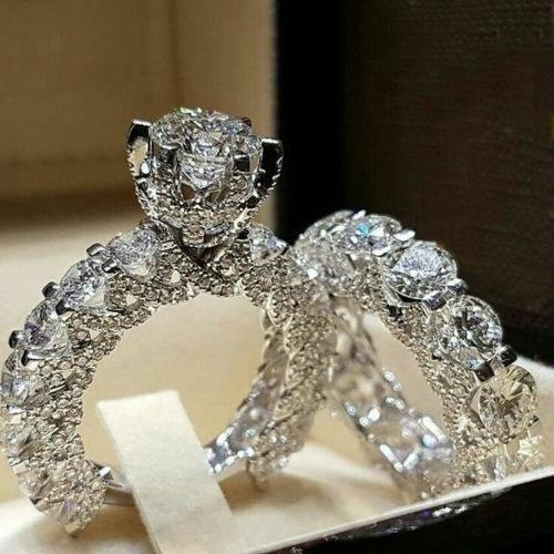 Luxury Sparkling CZ Crystal Rings Dazzling Crystal Zircon Wedding Ring Set Engagement Rings For Women Exquisite Jewelry
