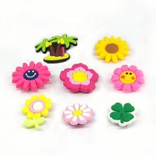 Custom Soft Rubber PVC Flowers board shoe buckle shoe lace tags shoe accessories charms