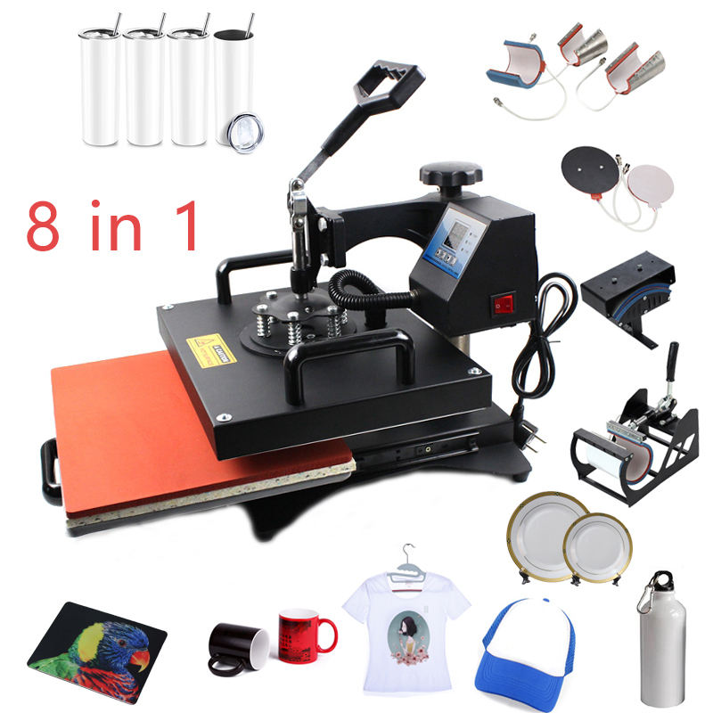 High quality Double display 8 In 1 Combo Heat Transfer Machine Sublimation Heat Press Machine For Mug/Hat/Tshirt/Slate Rock/MDF