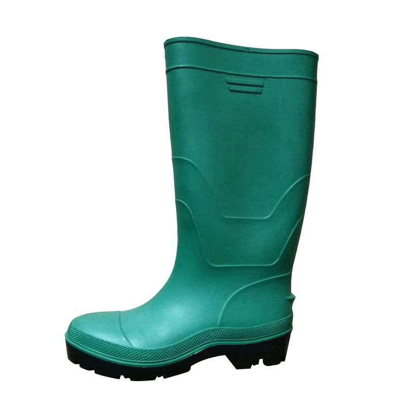 Green cheap pvc safety rain boots with steel toe steel plate