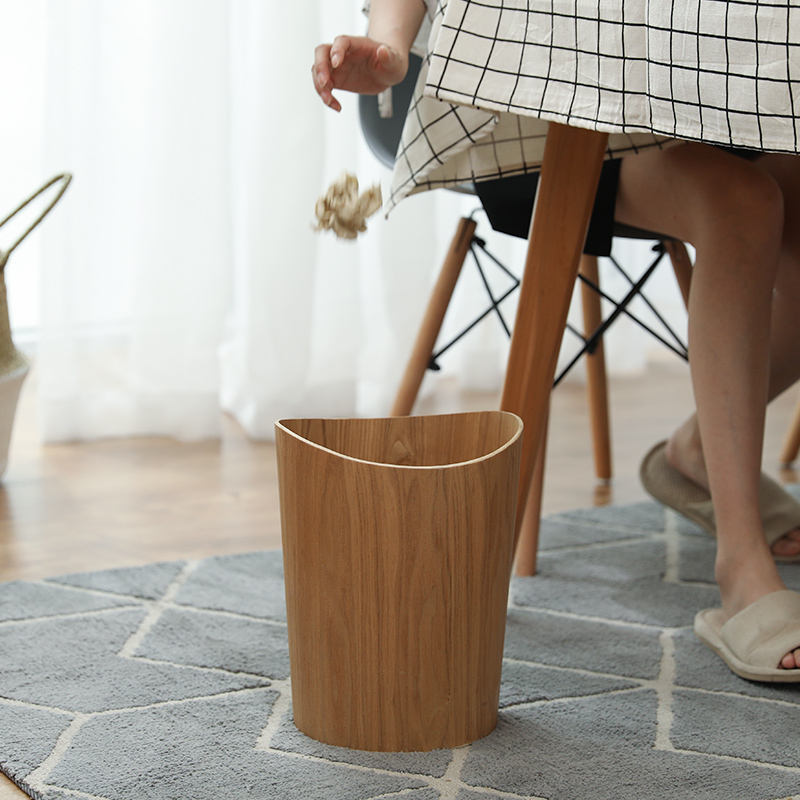 Garbage bin Nordic Japanese wooden trash can home creative storage bucket hotel living room office waste basket garbage cans