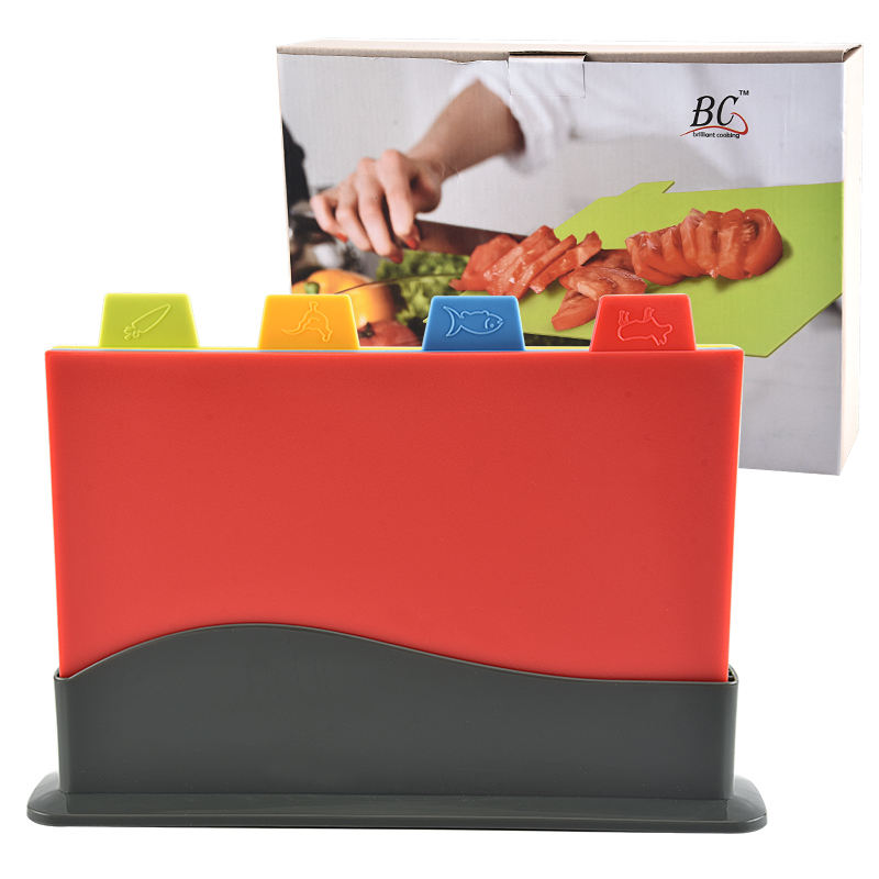 Unique Design multifunctional coloured index plastic kitchen chopping board set with holder