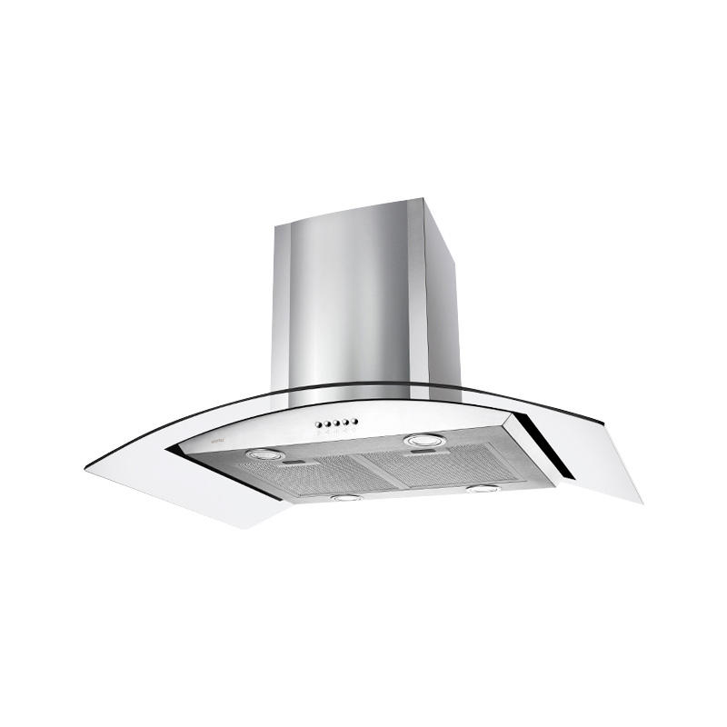 2020 best tempered push button switch glass and stainless steel kitchen range hood