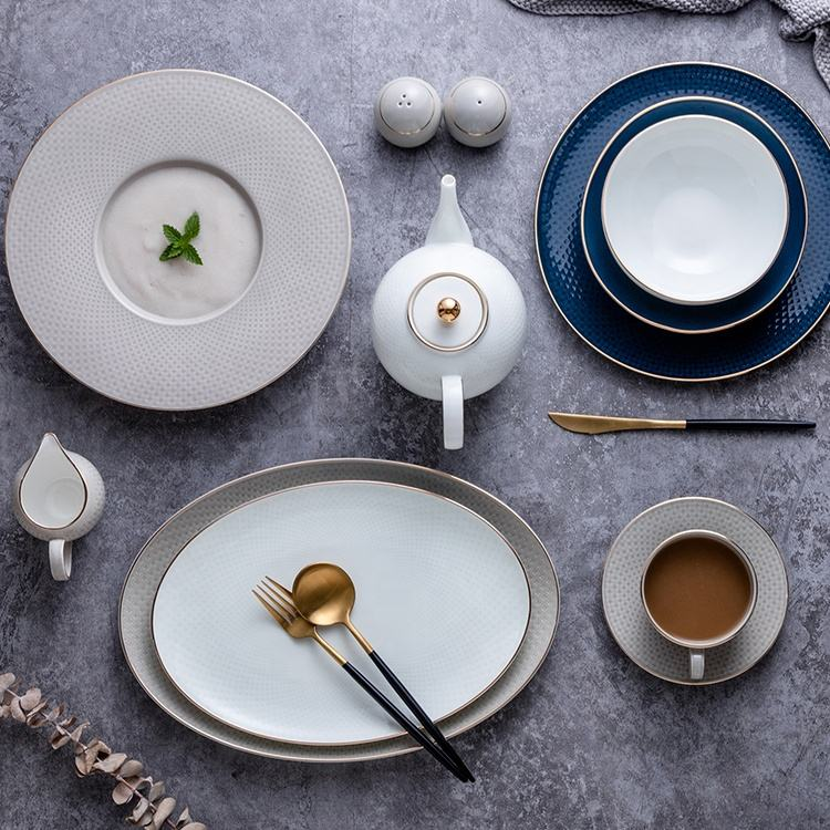 porcelain dinner set with gold rim design