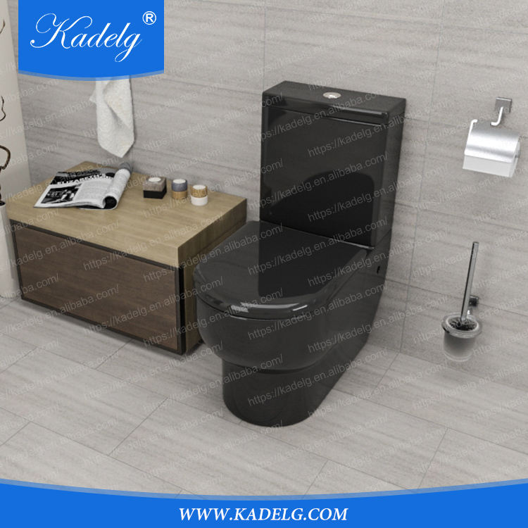 China Factory Bathroom Design Washdown Two piece Black WC Toilets Sanitary Ware