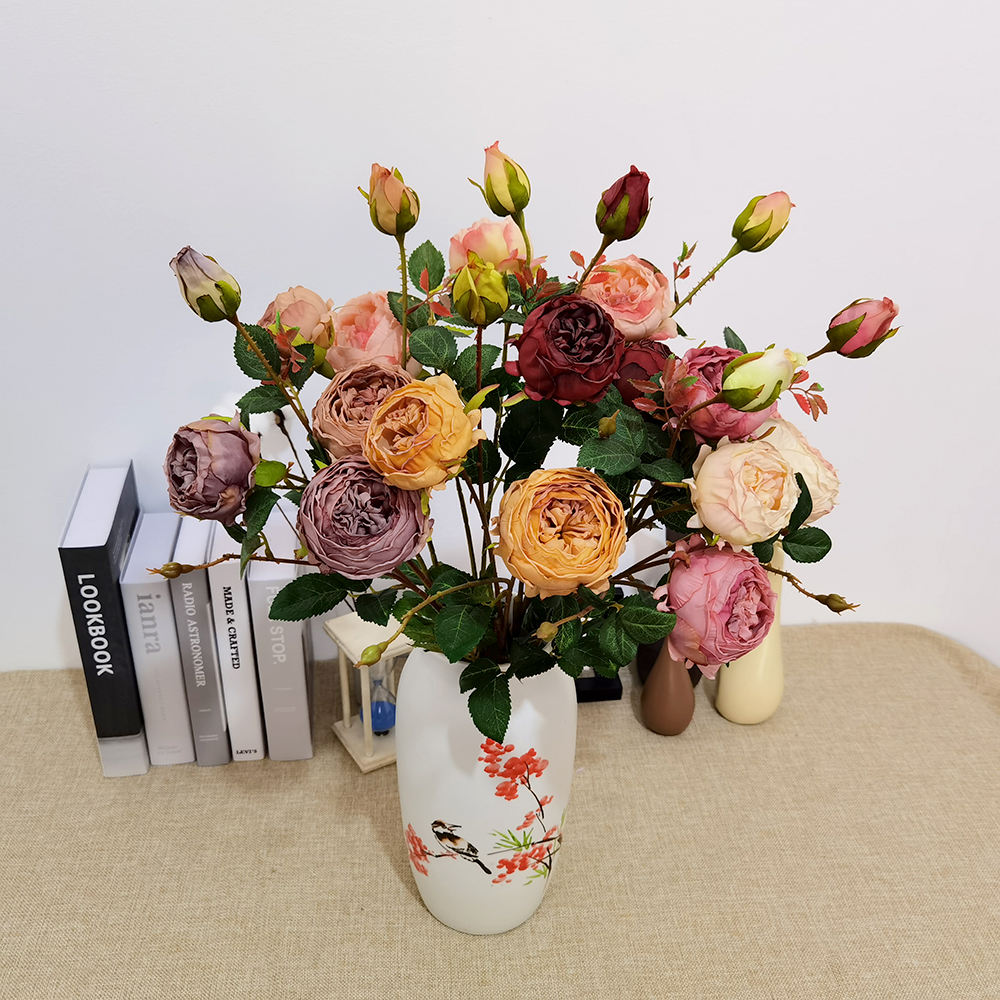 Factory Wholesale Single core wrap rose with fire edge with three ends for home decor arttificial flowers