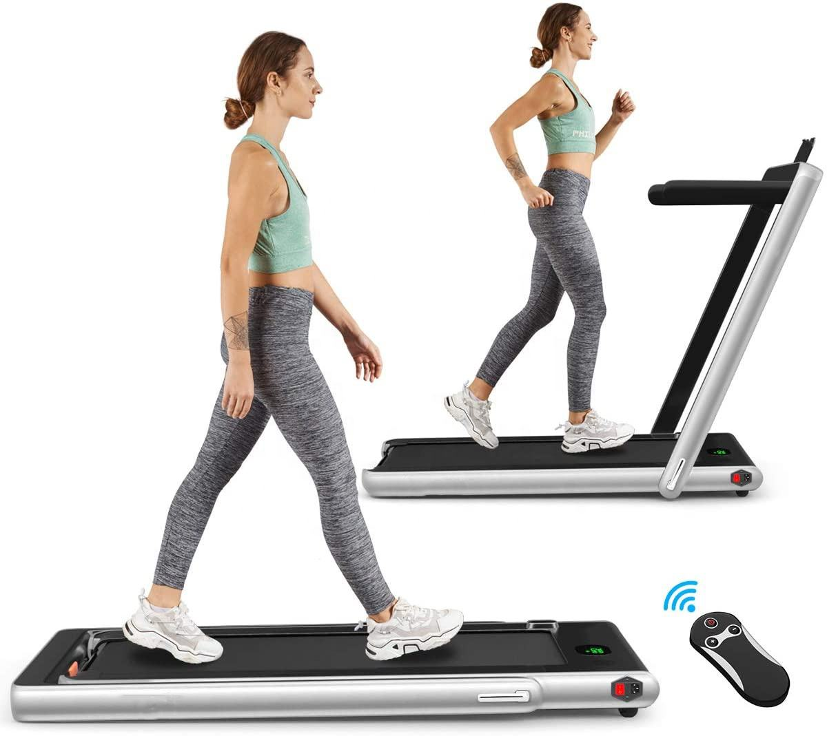 2 in 1 Folding Treadmill 2.25HP Electric Treadmill Installation-Free with Bluetooth Speaker Exercise Running Machine