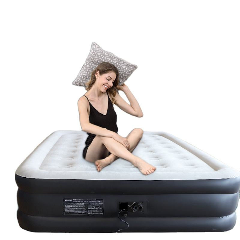 custom air bed custom queen size dura-beam inflatable PVC air mattress with headboard and built in pump inflatable air bed