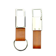 Fashion Blank Genuine Simple Metal And Leather Horse Keychain Key Ring Personalized Diy Custom Leather Car Key Holder