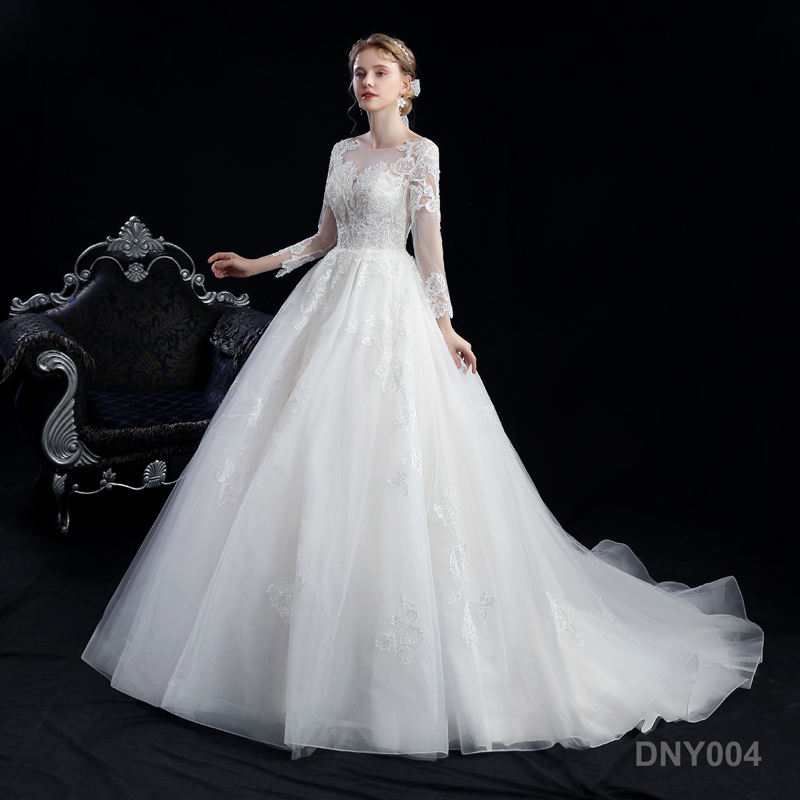 bridal luxury long sleeve lace tulle wholesale civil wedding dress plus size wedding dress with sleeves
