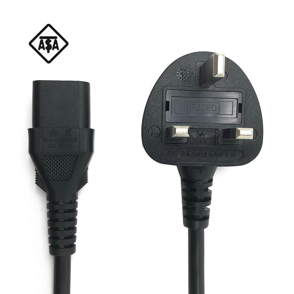 5A England BSI Approval 3 Pin AC Power Cord BS1363 Standard Fused Electric Computer Cable Extension Wire UK 2 Pin Plug