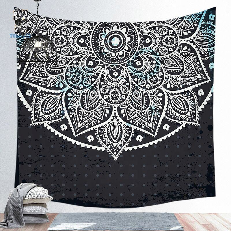 Custom Print 100% Polyester Fabric 3D Digital Printed Indian Mandala Wall Hanging Tapestry