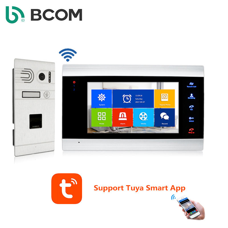 Amazon hot sell Wifi Video doorbell phone Intercom System With Tuya APP support 4000 Fingerprint for villa