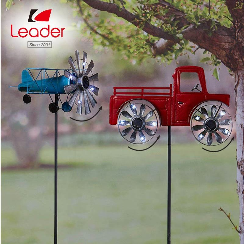 Garden Decor 3D Metal Wind Spinner Vintage Vehicle Solar Garden Spinners