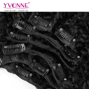 Wholesale Afro kinky curl 100% brazilian virgin hair human hair clip in hair extension