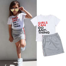 2020 New Children Clothing Girls Summer Girl Letter T-Shirt and Short Skirt Suit Girls' Clothing Sets