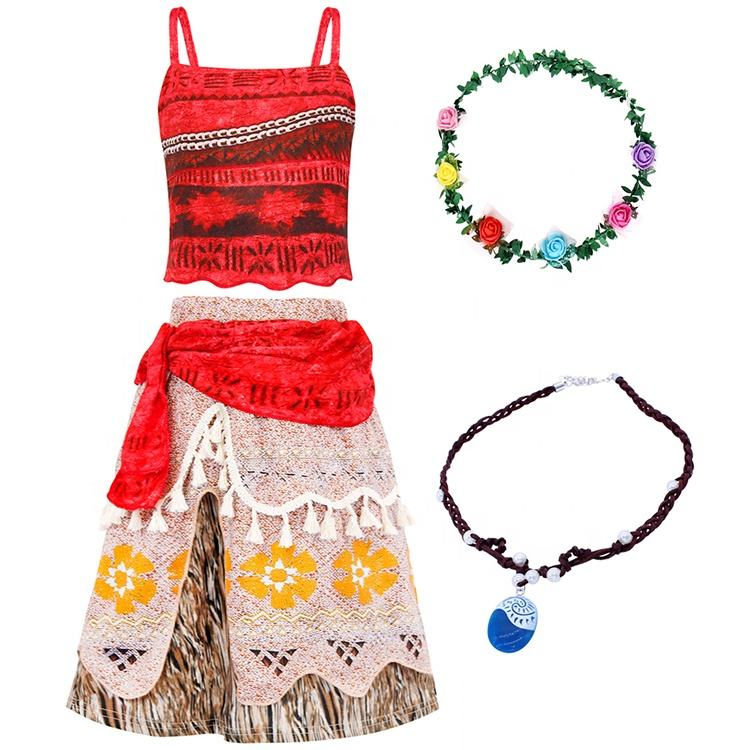 Hot Sell Halloween Moana Costume Skirt Set Little Girls Cosplay Costume Fancy Party Dresses Moana Dress up Outfits Costumes