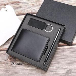Amazon Genuine Leather Wallet Mens Wallet Keychain Ví Quà Tặng Bộ