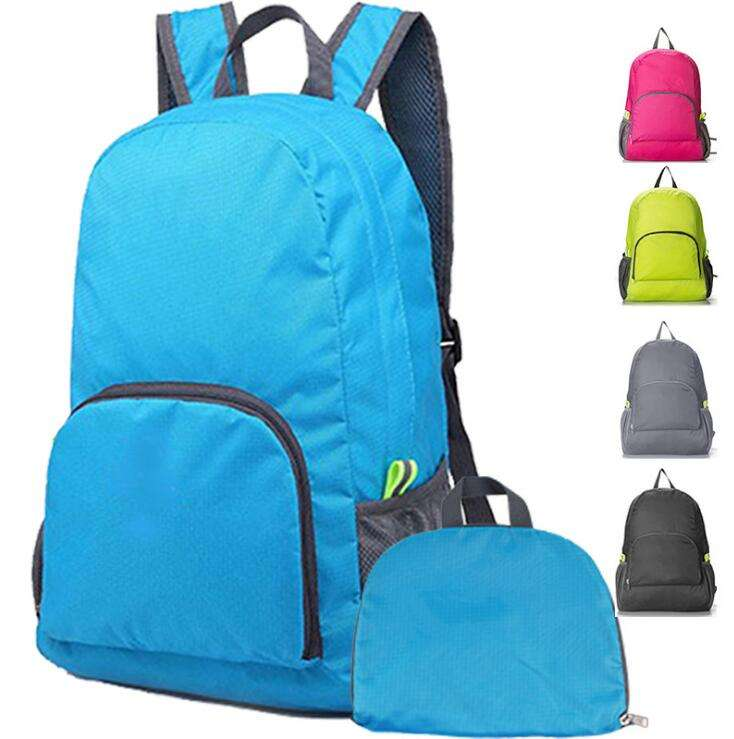 Promotional Cheap Outdoor Travel light Folding Back Pack Polyester Foldable Backpack In Stock