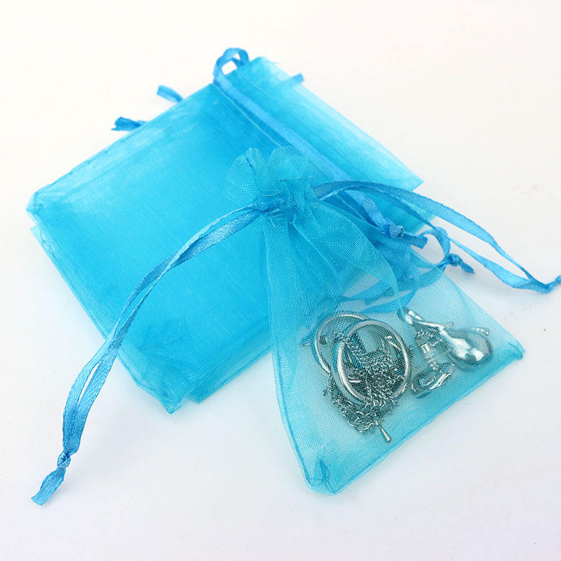 Wholesale 7*9cm popular custom wedding gift pouches small drawstring mesh jewelry organza bags with LOGO custom