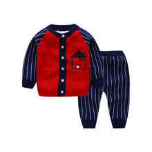 Hot Designed Little Baby Clothes Solid Suit Knitted Cotton Kids Cartoon Sweater Sets For Infant