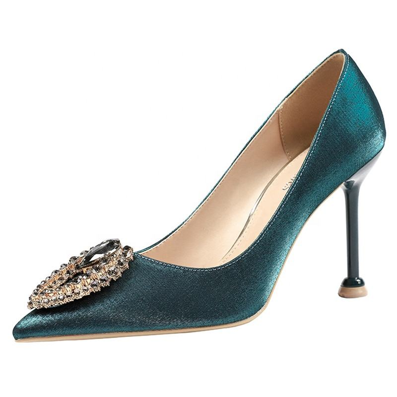 2019 new design high heels for ladies fashion party dress satin material pumps pointed thin diamond round button women shoes