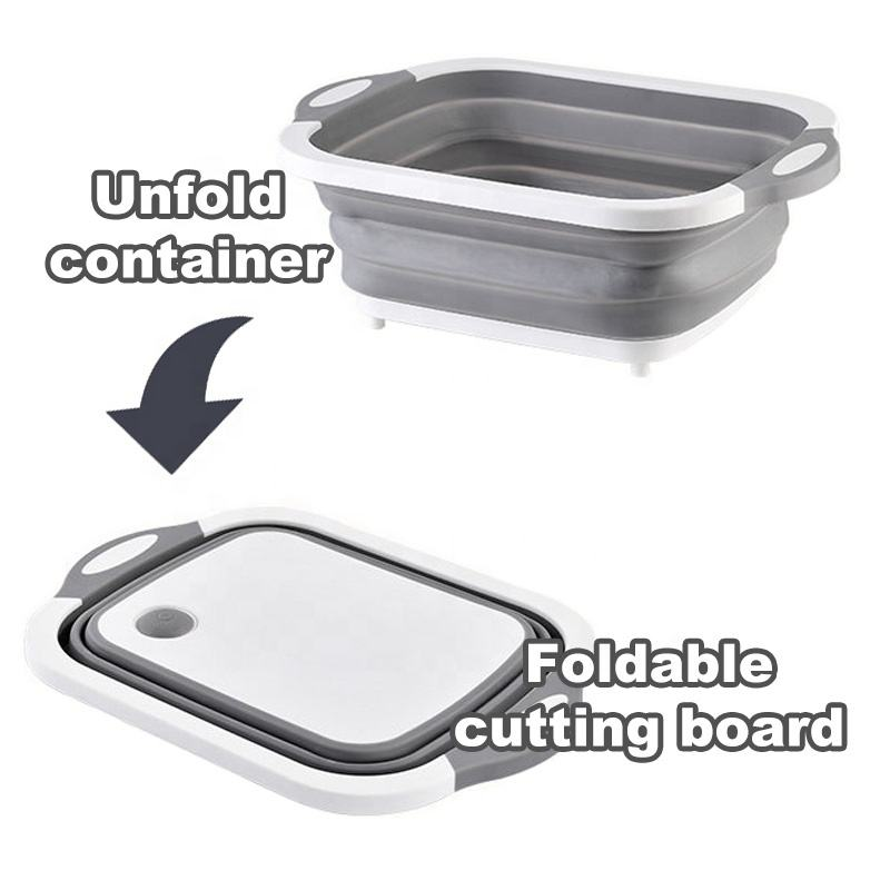 Kitchen Foldable Chopping Blocks Collapsible Cutting Board with Colander