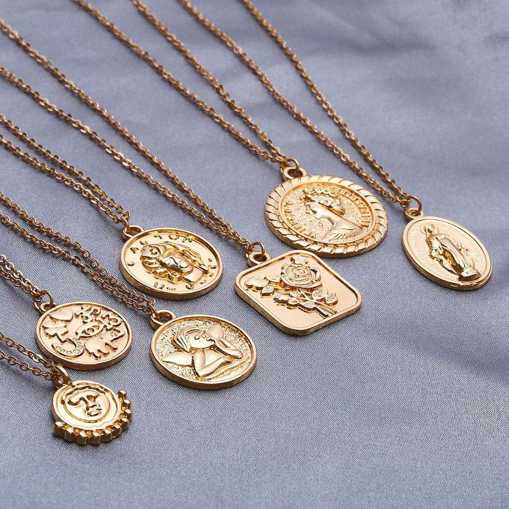 Vintage Carved Gold Chain Coin Pendant Necklace Face Rose Angel Jesus Virgin Mary Necklace for Women