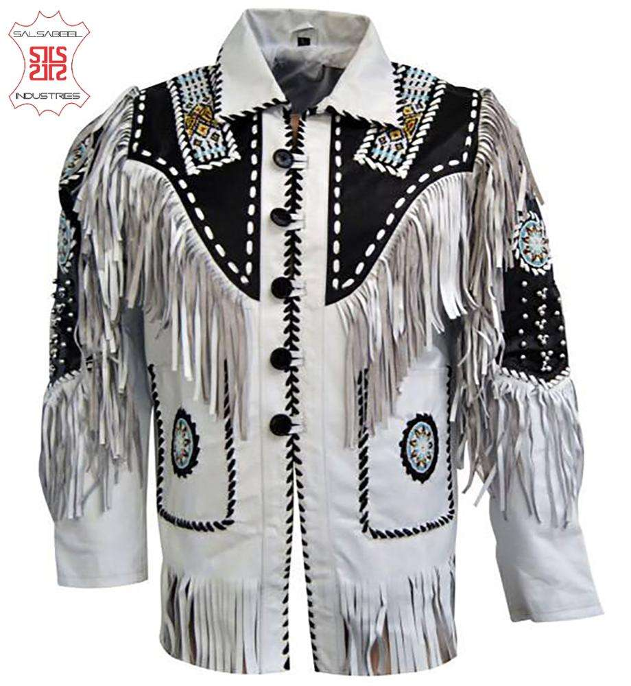 Occidentale CowBoy In Pelle di Usura Mens Suede Fringe ossa Giacche