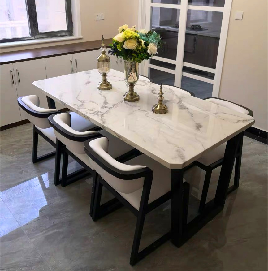 Nordic modern wrought small apartment marble rectangle dining table